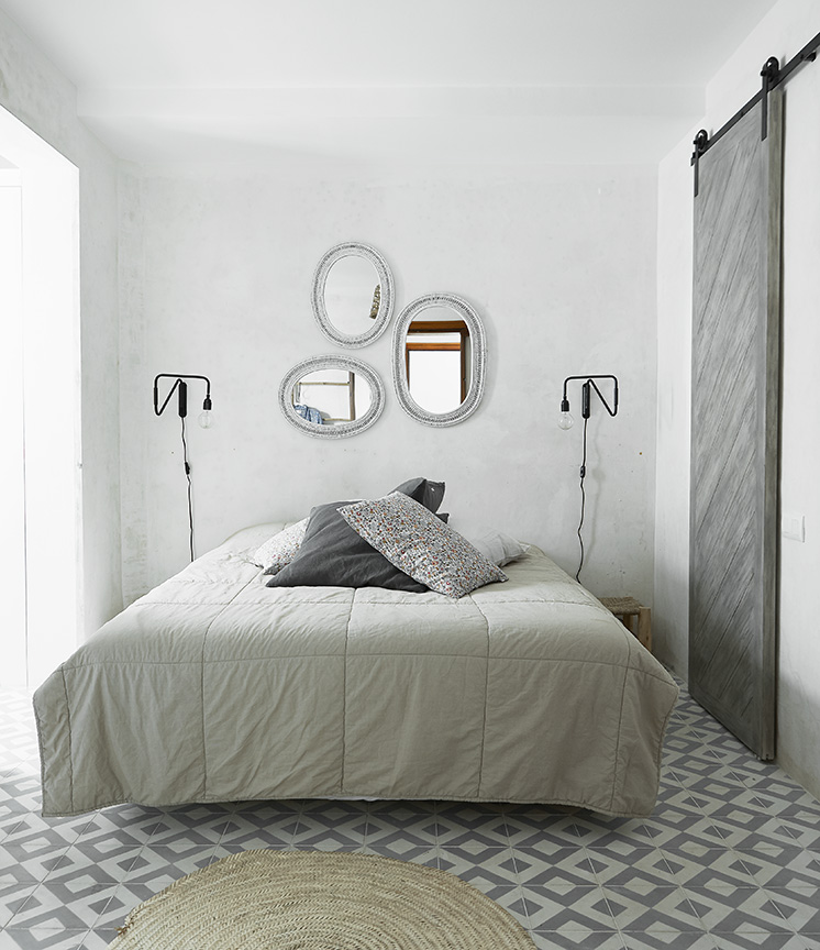 cement tile floors bedroom