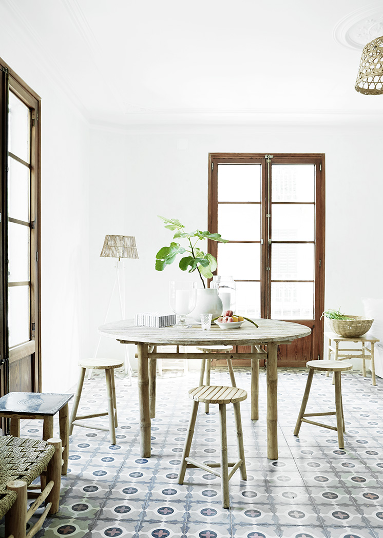 cement tile floors dining room round table