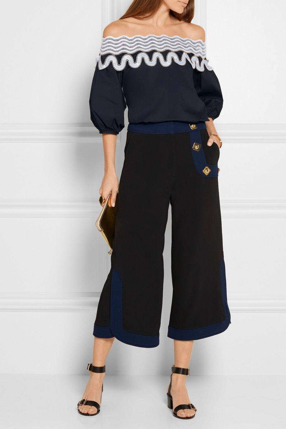 Off the shoulder embroidered Peter Pilotto Top Navy