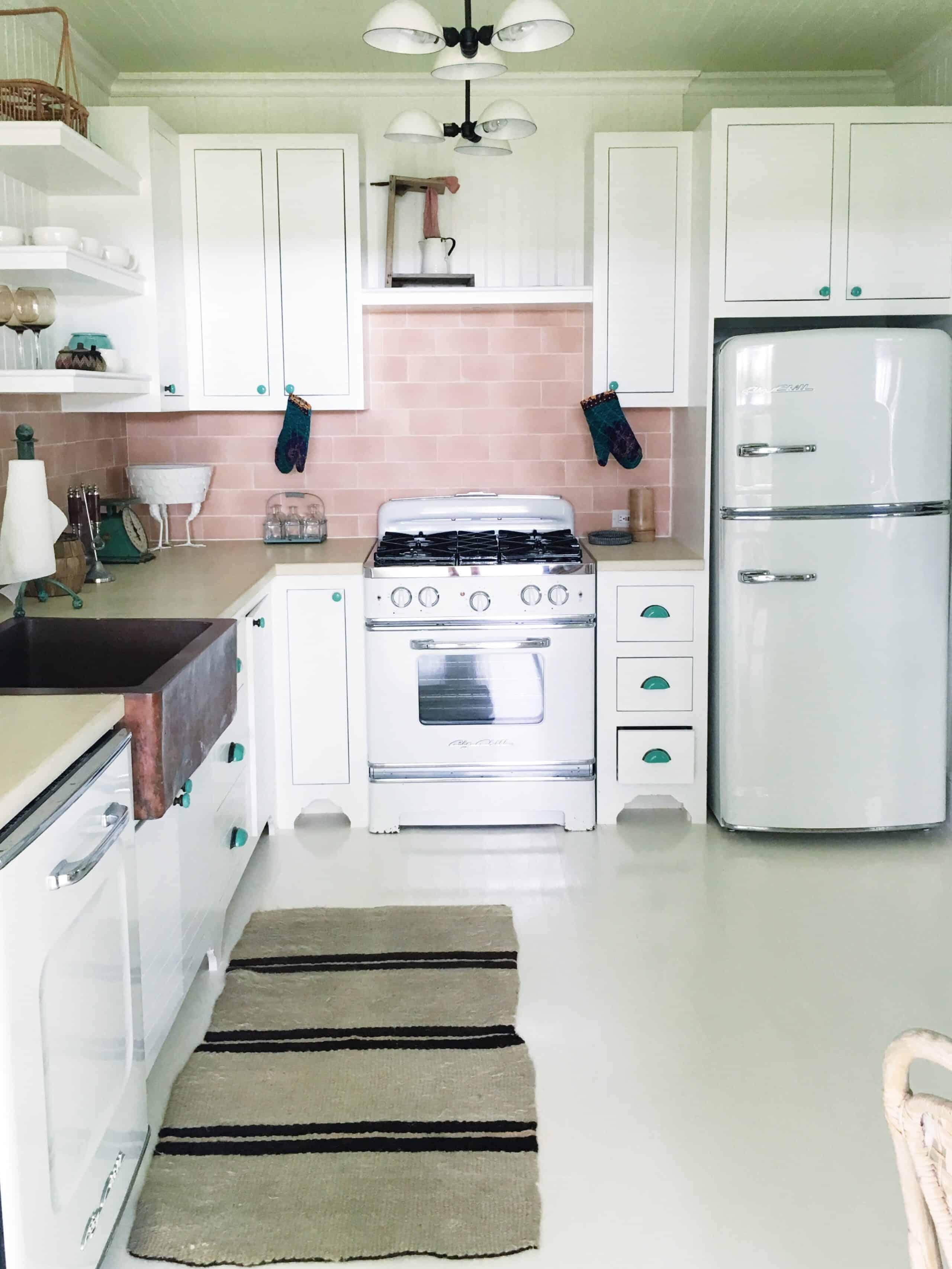 retro kitchen pink tile backsplash
