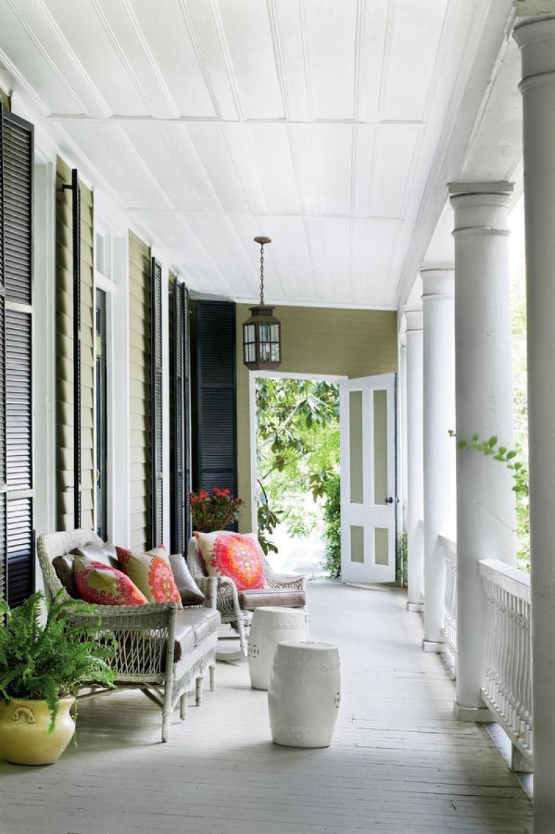 Southern porches front porch wicker chair charleston southern living