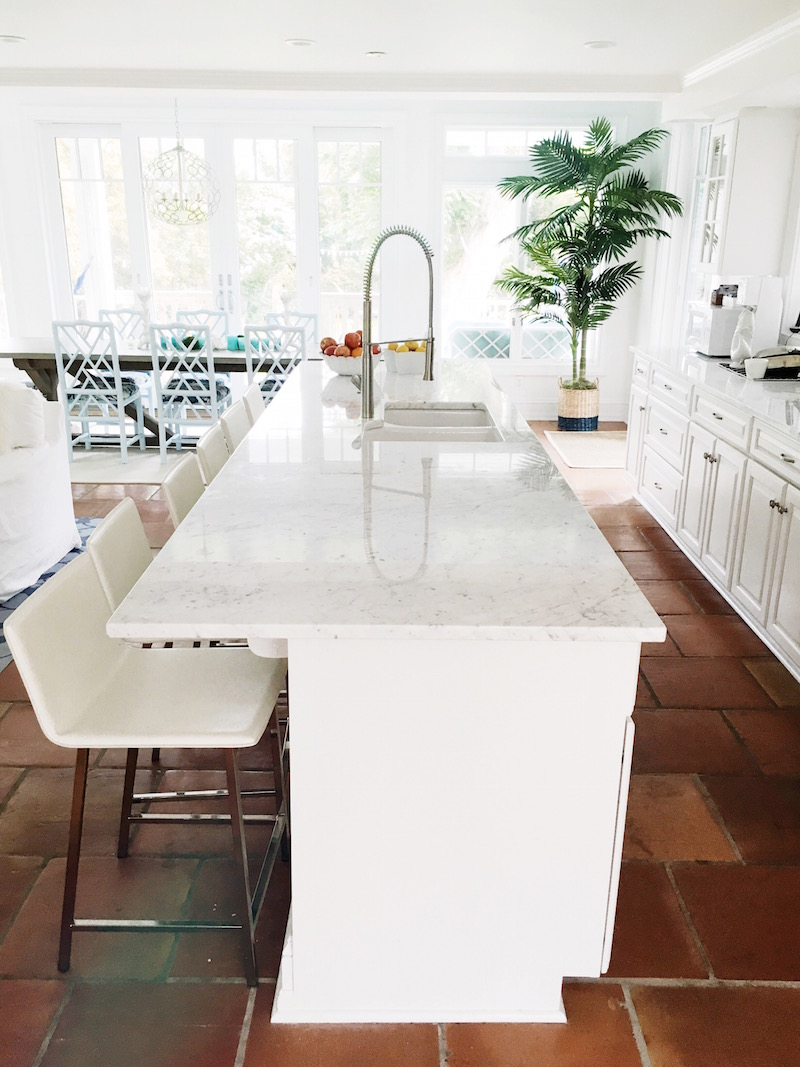 AM Bright White Kitchen Island Carrara Marble Counter