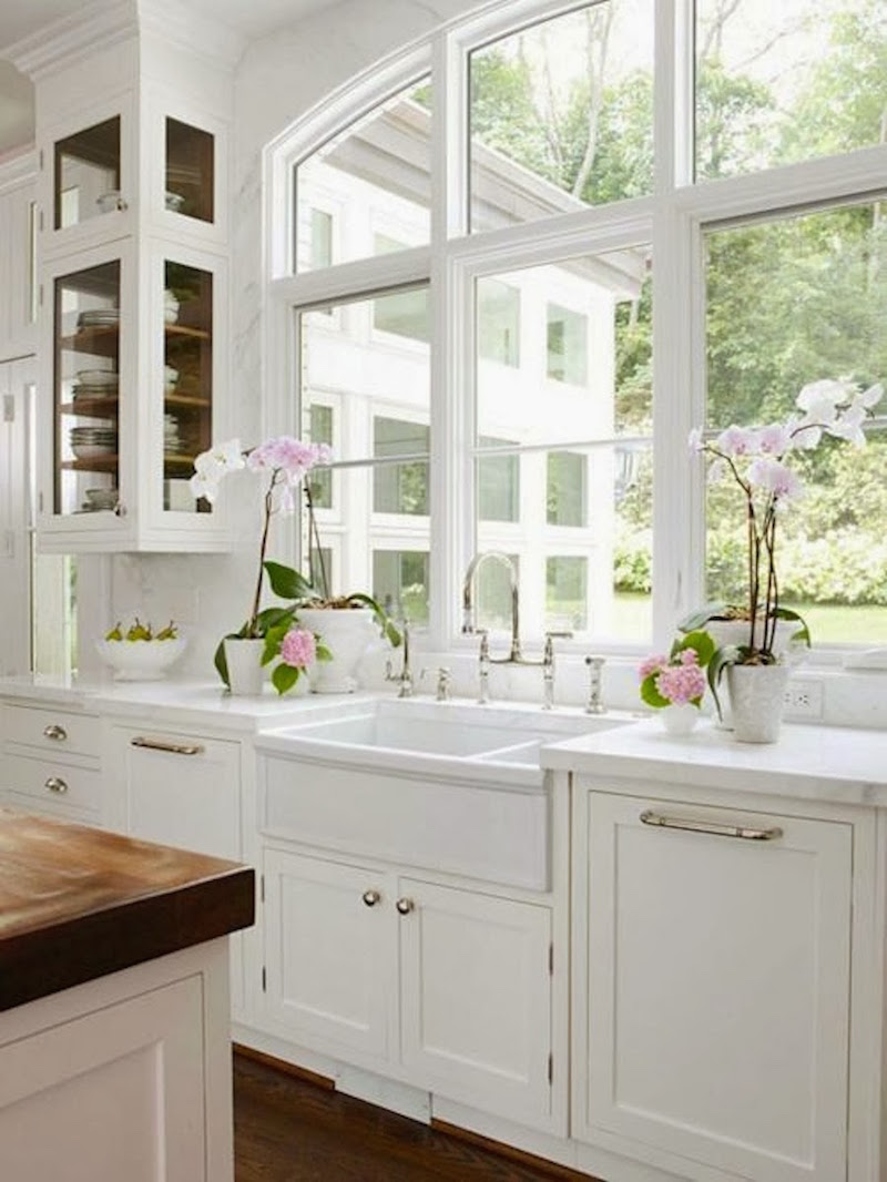 Bright White Kitchens White Sink Open Cabinets