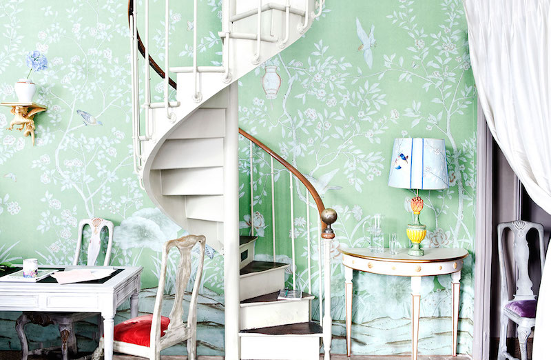 De Gournay Chinoiserie Askew White Spiral staircase home office mint green wallpaper