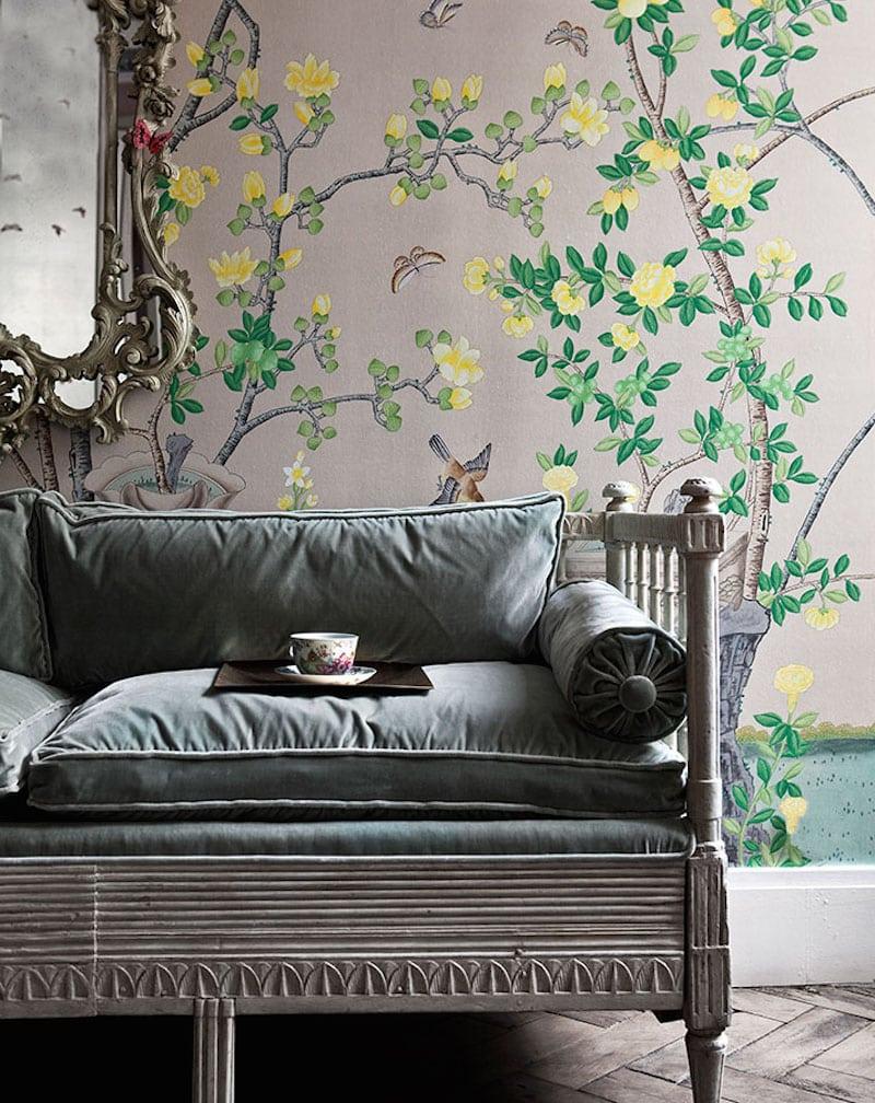 De Gournay Chinoiserie Grey Velvet Couch Jardinieres Citrus Trees