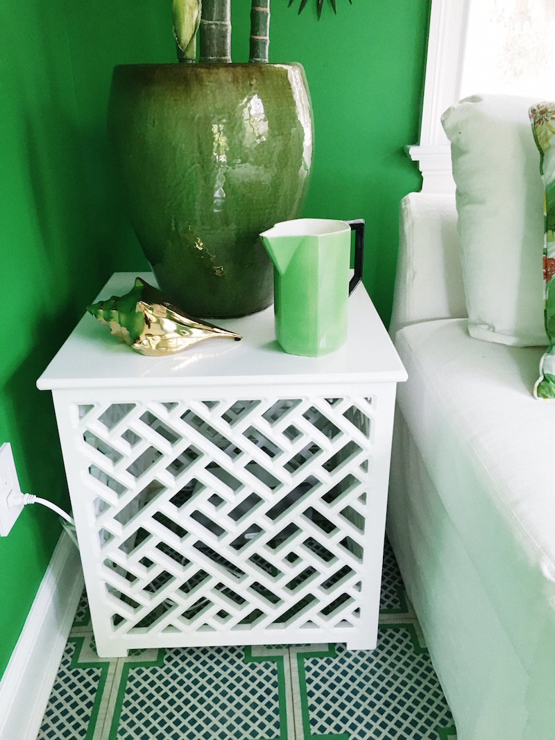 Gorgeous Green Home Office Geometric White Side Table Green Plant