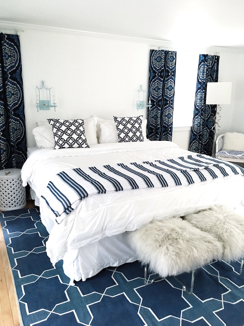 East Hampton Guest Bedroom Blue Madeline Weinrib Rug Cococozy Pillows