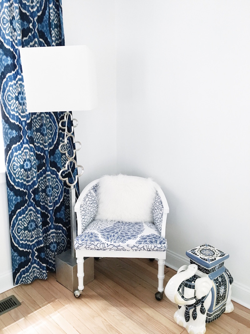 Blue White Guest Bedroom Reading Nook Lamp Blue Drapes
