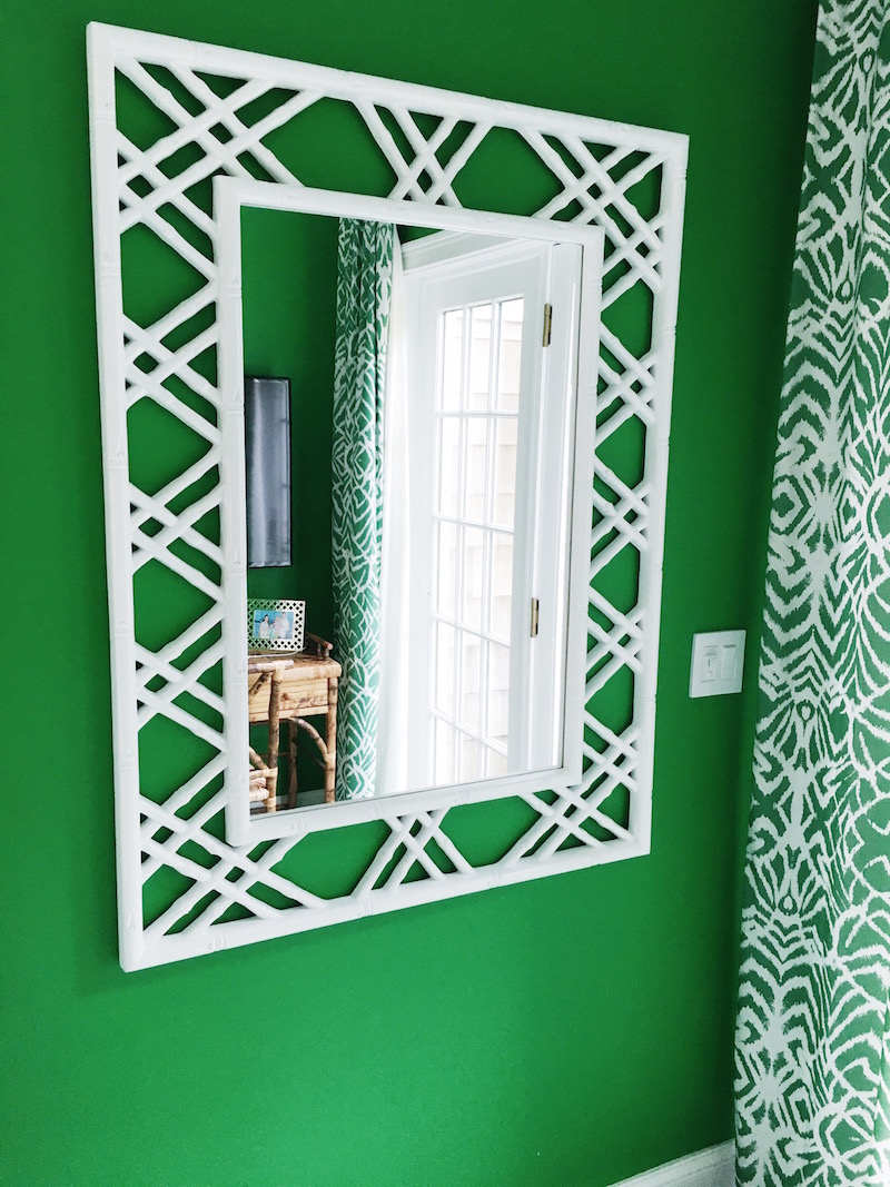 Gorgeous Green Walls white wicker mirror