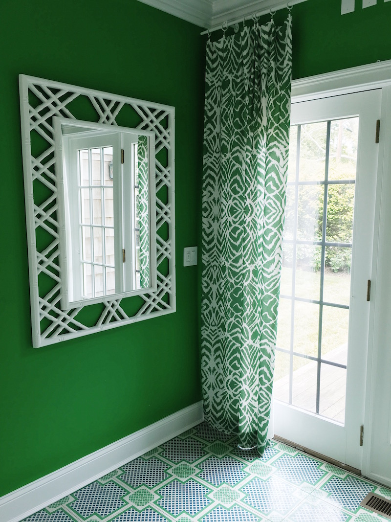 Gorgeous Green Walls White Wicker Mirror Green Drapes Home Office East Hampton