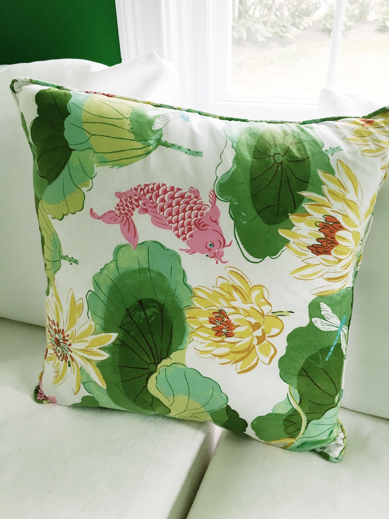 White Couch Green Tropical Koi Pillow Home Office