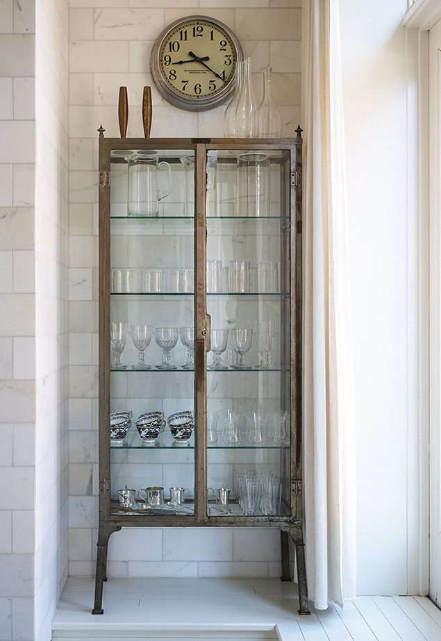 Gwyneth Paltrow's New York City apartment kitchen glass cabinet