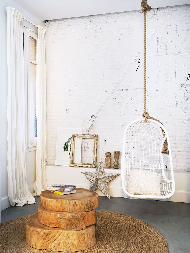 bright barcelona apartment tour swing wooden side table