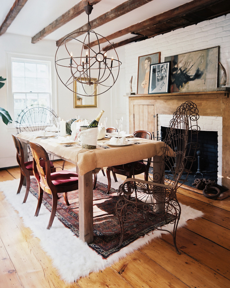 Wooden Dining Room Table Iron Chandelier Exposed Wooden Beams SAG Harbor Cottage