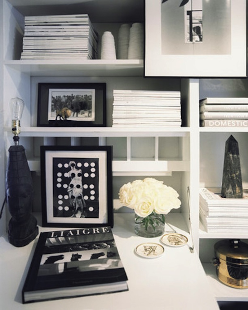White Desk Shelves Black White Frames SAG Harbor Cottage