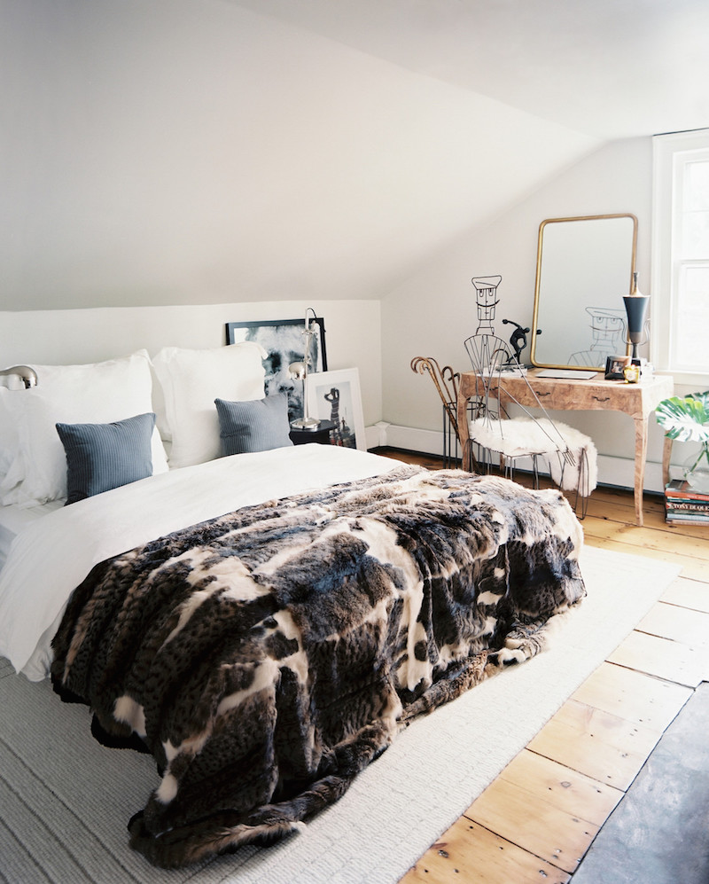 White Bedroom Faux Fur SAG Harbor Cottage