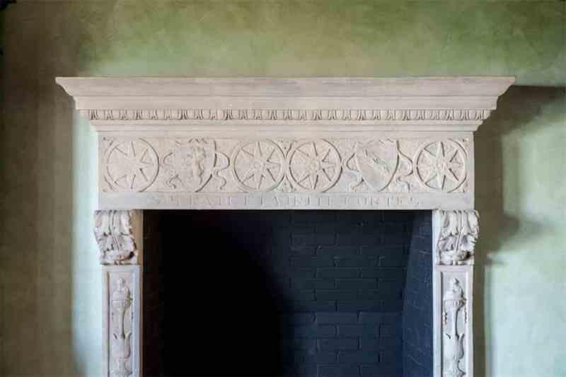 Palm Beach Estate Stone Fireplace