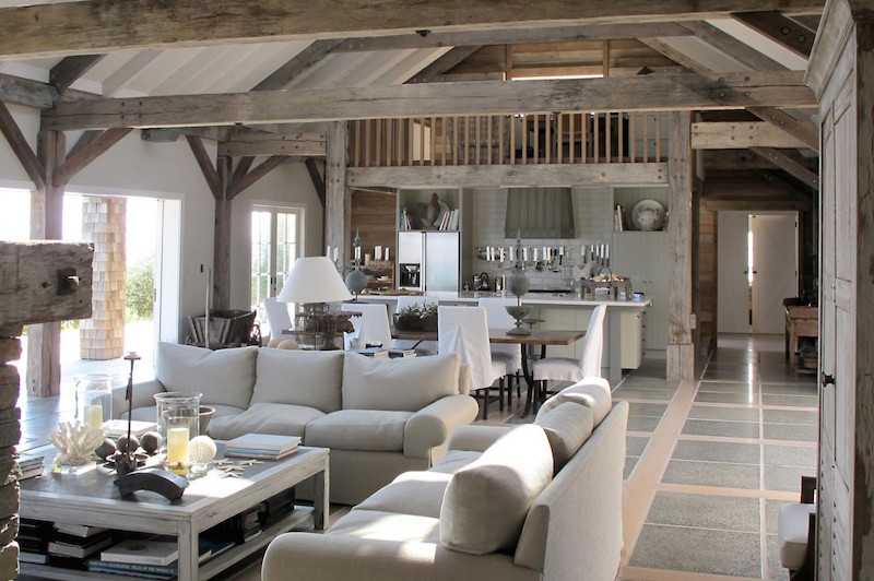 Barn House Living Rooms Grey Exposed Beam Ceiling