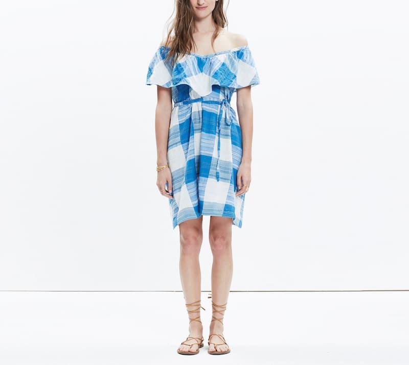 Madewell Blue Checkered Dress