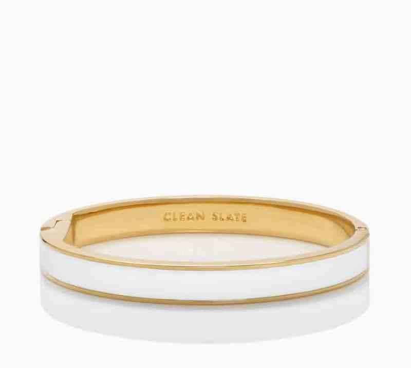 Kate Spade White Clean Slate Idiom Enamel Bracelet