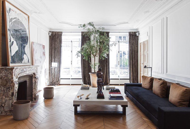 chevron living room.  Chic Paris Apartment Chevron Wood Floors COCOCOZY