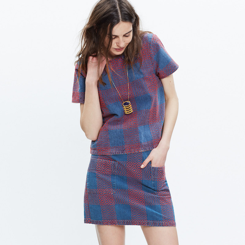madewell embroidered plaid skirt blouse