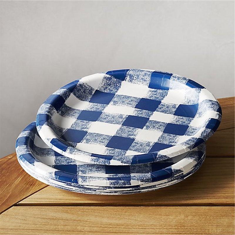 Blue Checkered Paper Plates