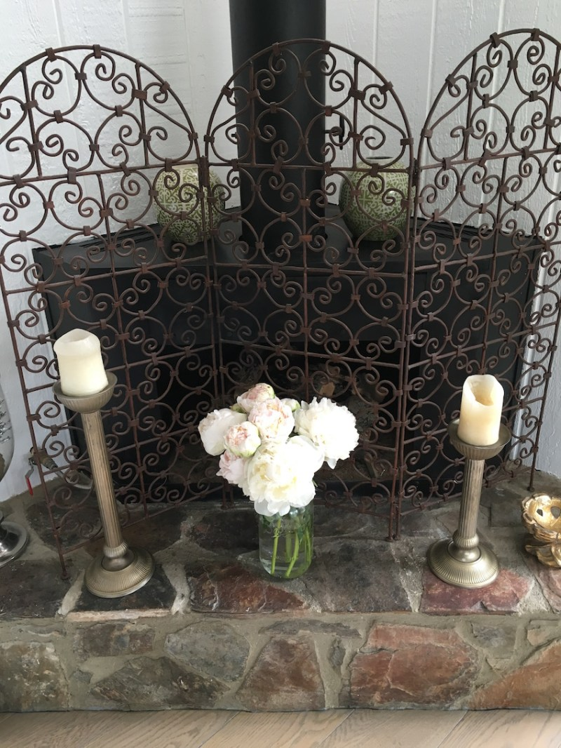 White Peonies Mason Jar Vase Fireplace Screen
