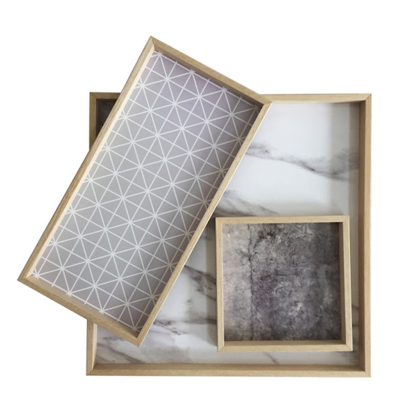 tin tray with rope handles marble geometric decorative tray inserts - Decorative Trays