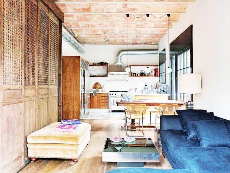 barcelona loft blue sofa oversized ottoman kitchen lighting