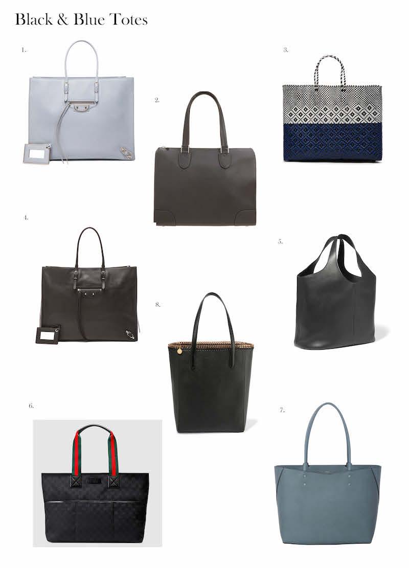 black blue tote bags