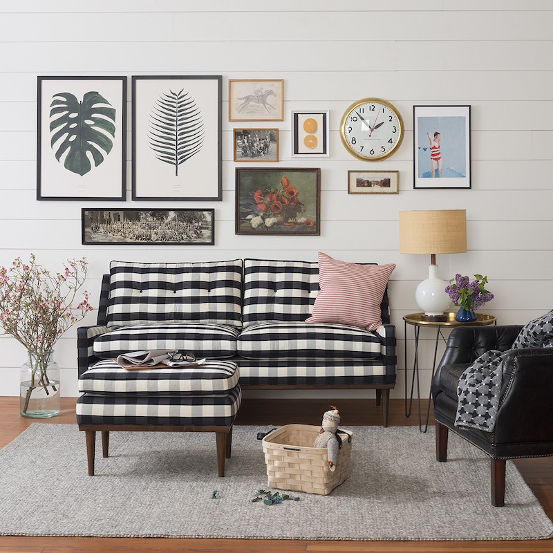 Jack Loveseat Windowpane Plaid Couch