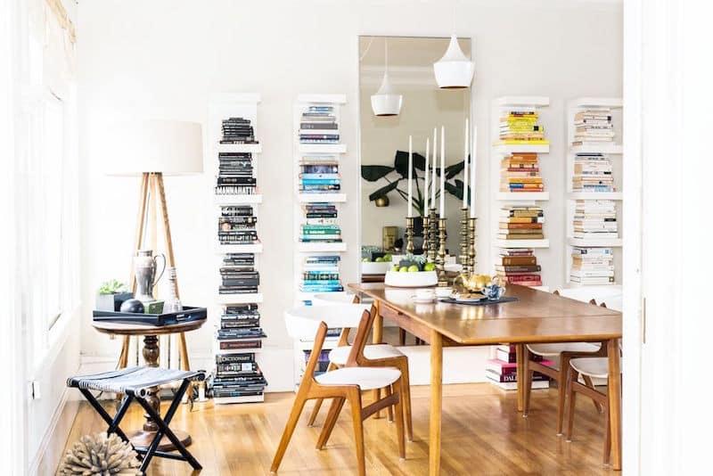 built in bookshelves color coordinated shelves