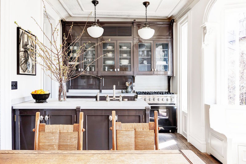 Roman Williams Brooklyn Townhouse Remodel Kitchen Dark Chocolate Cabinets Quartz Counters