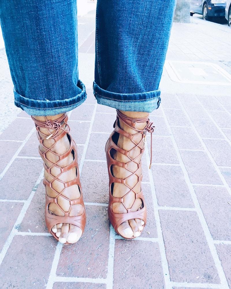 alexander mcqueen tan tie up heels