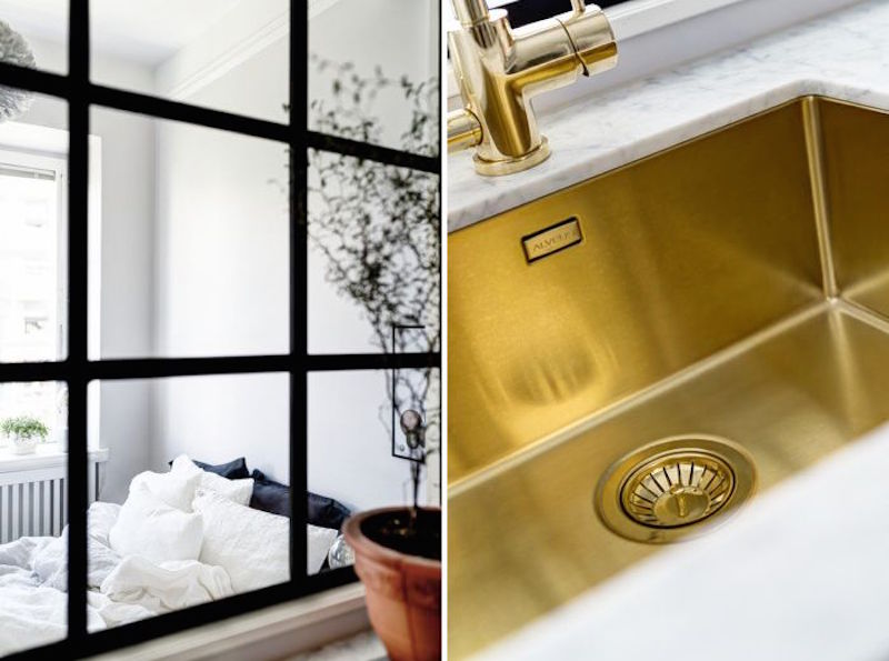 Compact Quarters Gold Kitchen Sink Master Bedroom Window
