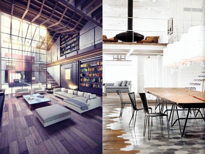 lovely lofts oversized sofa library tile floors dining room table
