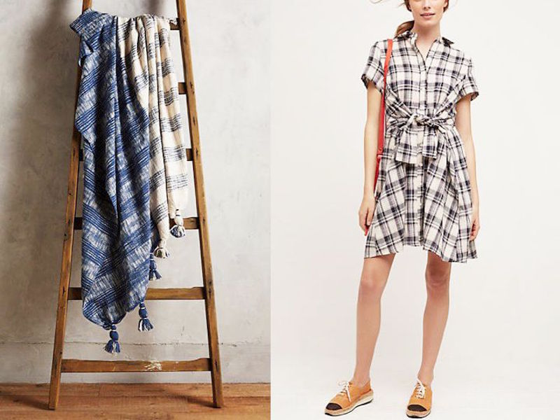 plaid blankets plaid tie waist shirtdress