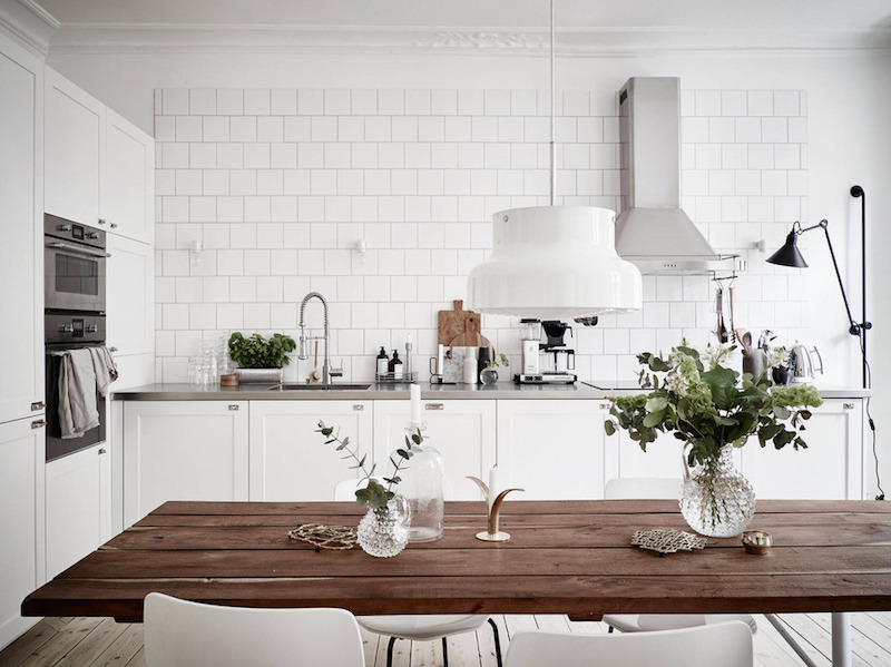 scandinavian flat bright white kitchen