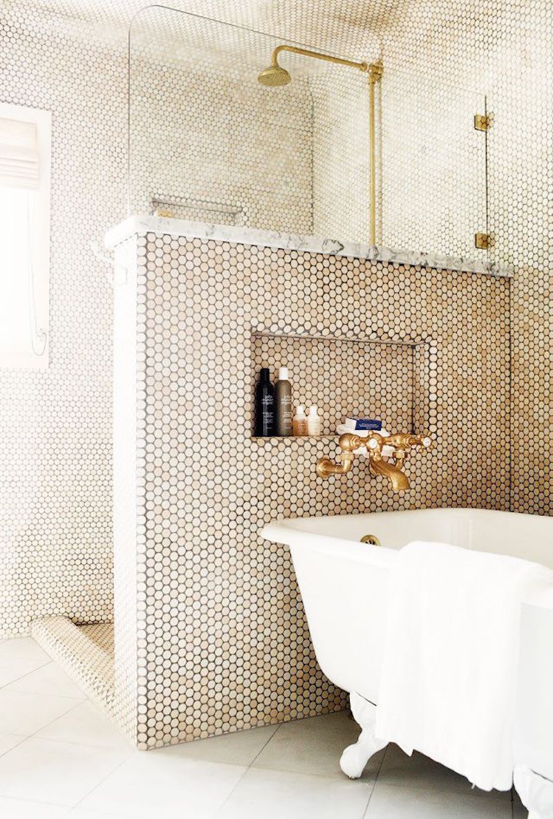 Taupe Penny Round Tile Bathroom