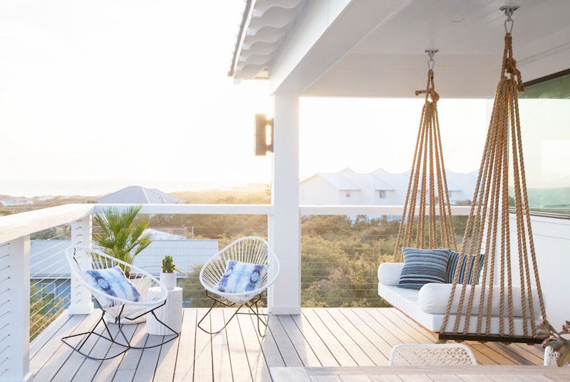 inlet beach house tour outdoor patio swing rocking chair