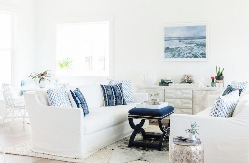 inlet beach house tour living room white couch indigo pillows