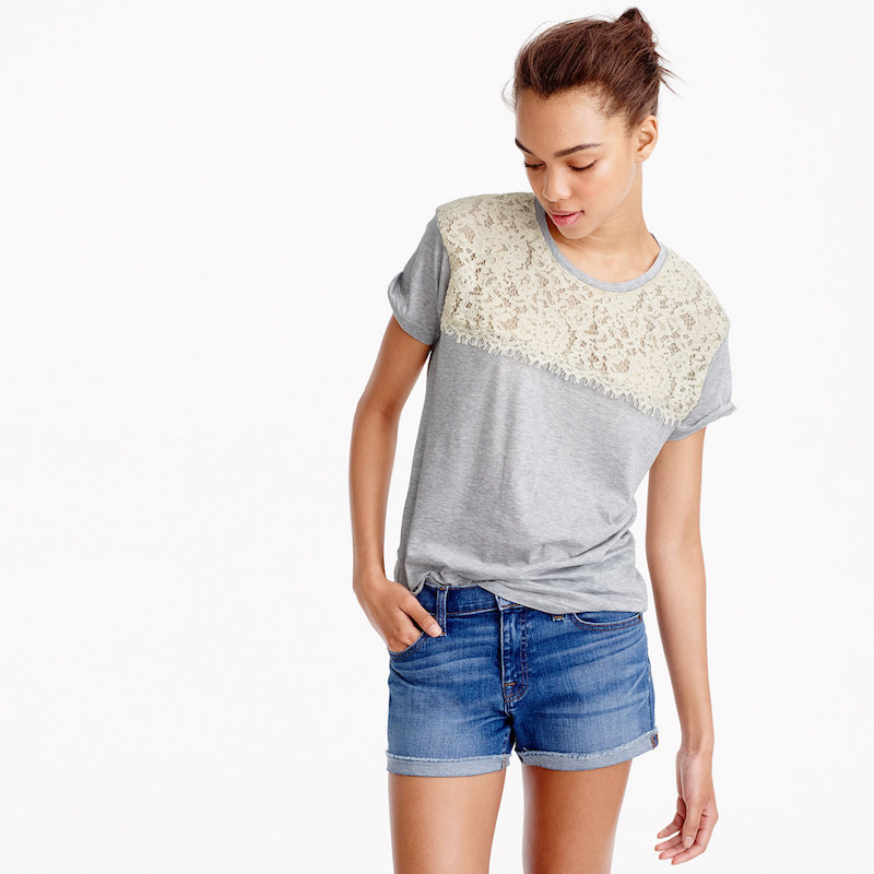 lace gray graphic tees