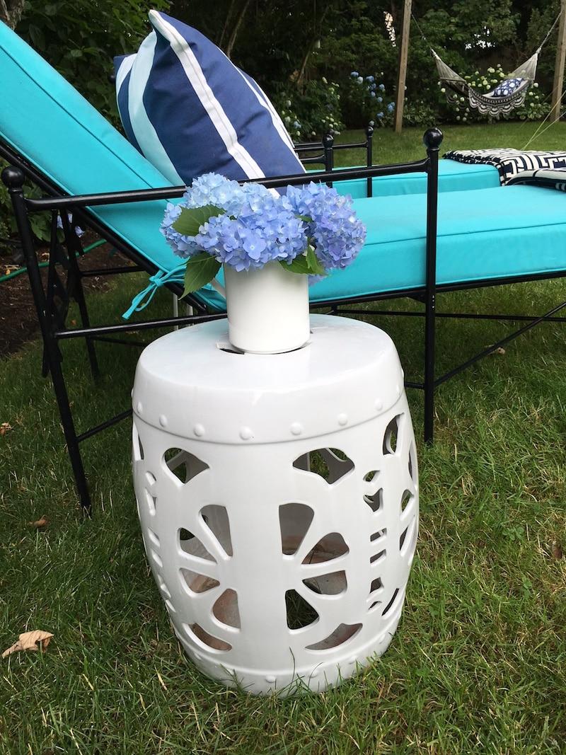 Lounge Area White Side Table Blue Hydrangea Flowers