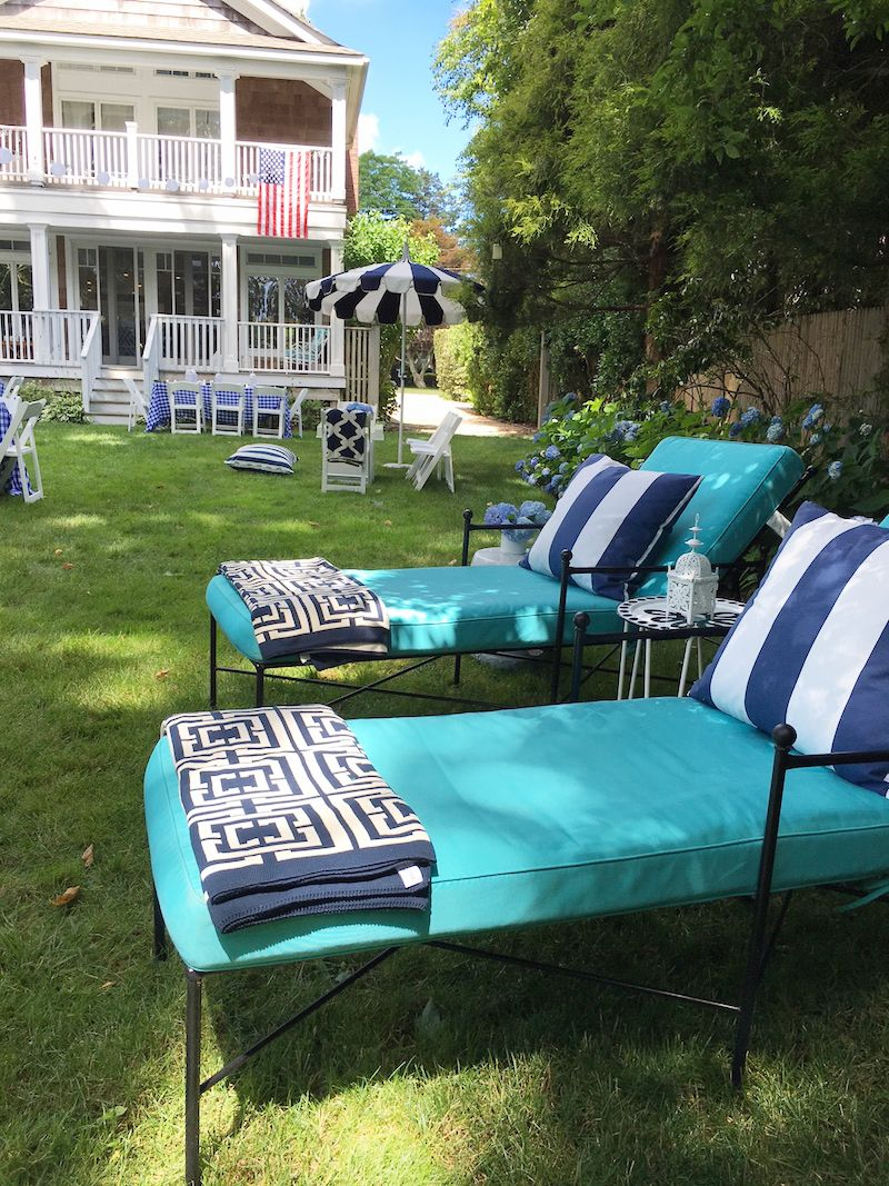 Lounge Area Chaise Lounge Chairs East Hamptons Cococozy Throws Blue White Striped Pillows