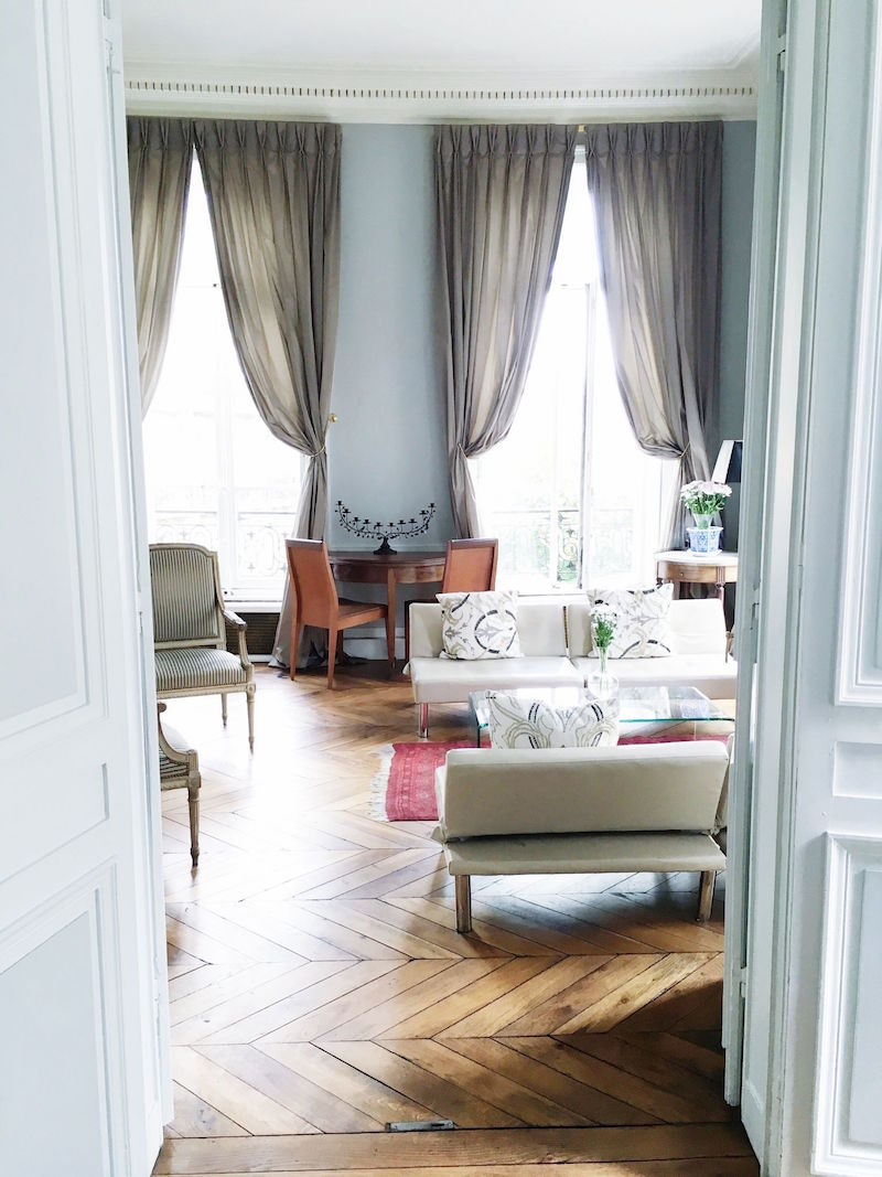 Paris Apartment Living Room Herringbone Floors