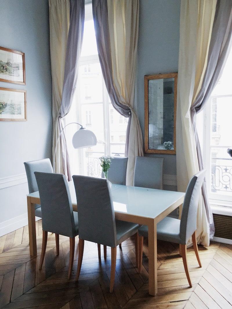 Paris dining room chevron floors table chairs drapery