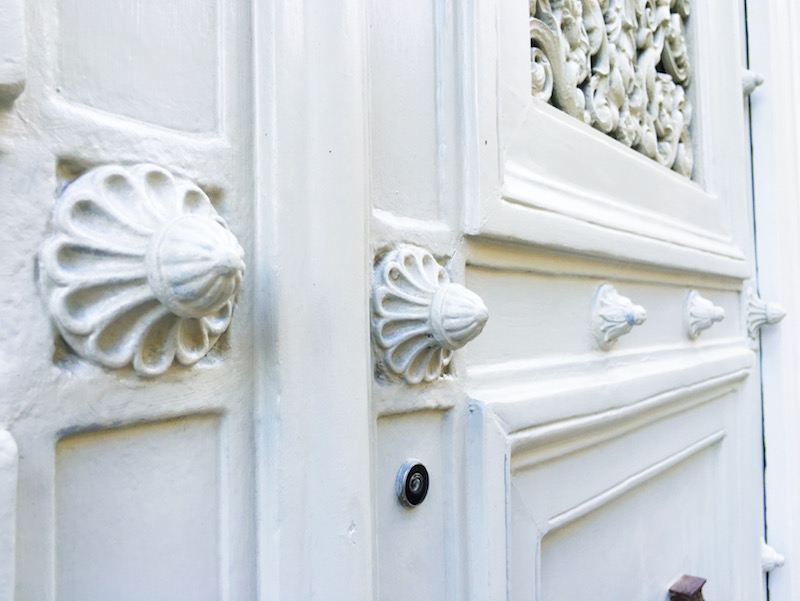 White Paris Door Knobs Close Up