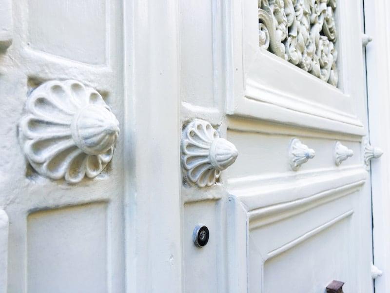 White Paris Door Knobs Close Up