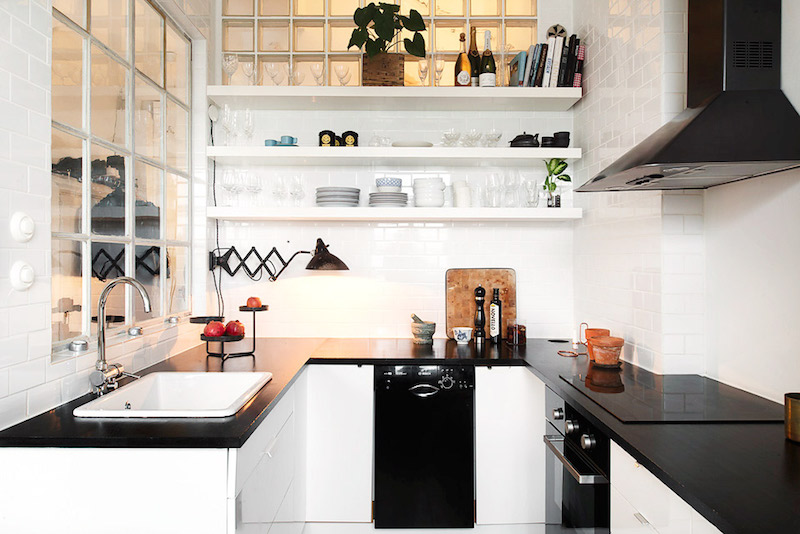 u shape kitchens black countertops white walls small space